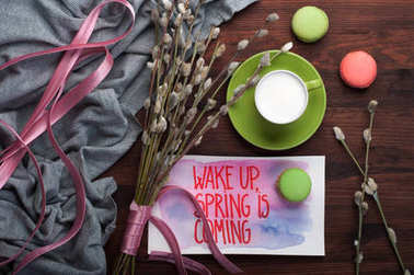 Coffee with whipped milk in a green cup on brown wooden background. Near the willow branches with a pink bird (decoration) and sweets (macaroons). 'Wake up, spring is coming' concept