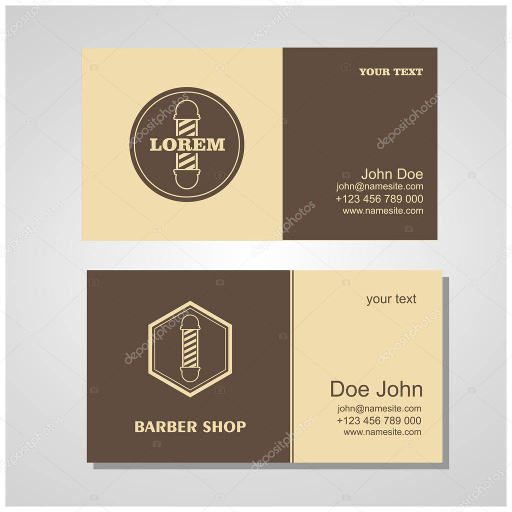 Hair salon barber shop design business cards template set. — Stock ...