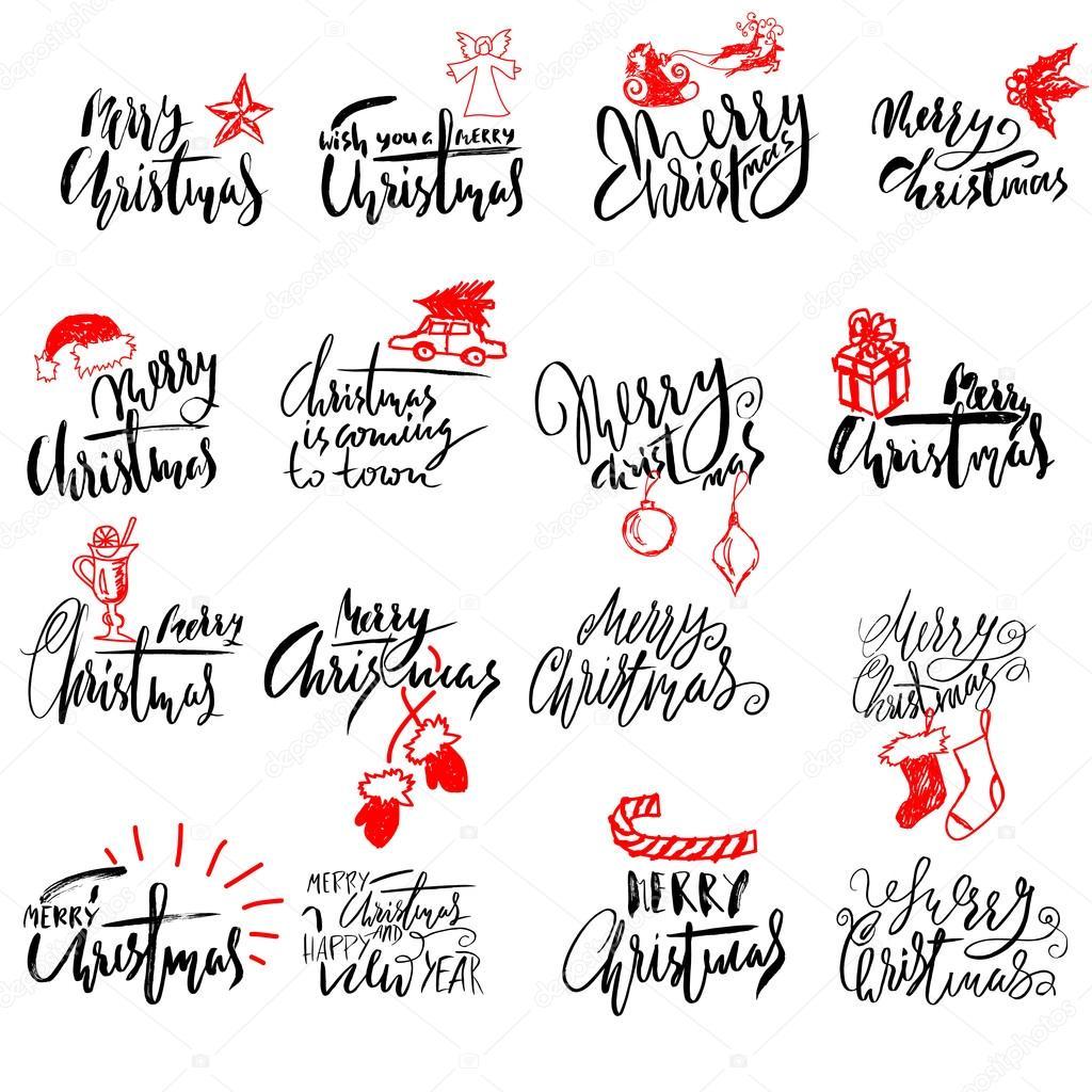 Etiketten Frohe Weihnachten.Frohe Weihnachten Handschriftlich Schriftzug Typografische Embleme