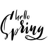 Ruční sečtělý styl jaro design na bílém pozadí. Ahoj jaro ručně tažené kaligrafie dopisy. Vektorové ilustrace