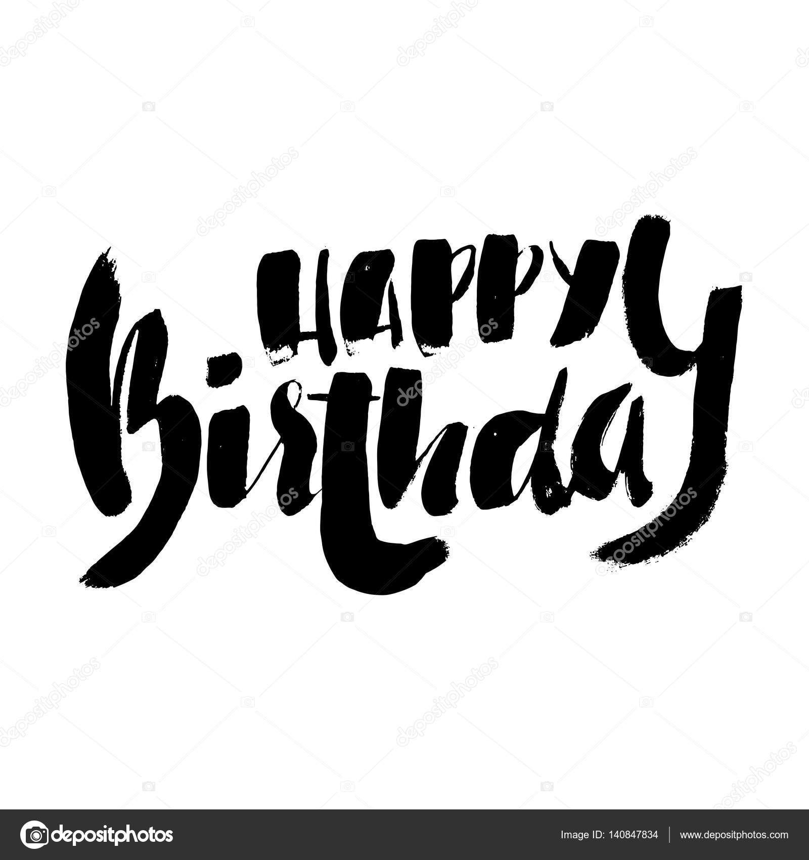 happy birthday lettering for invitation and greeting card prints and posters hand drawn. Black Bedroom Furniture Sets. Home Design Ideas