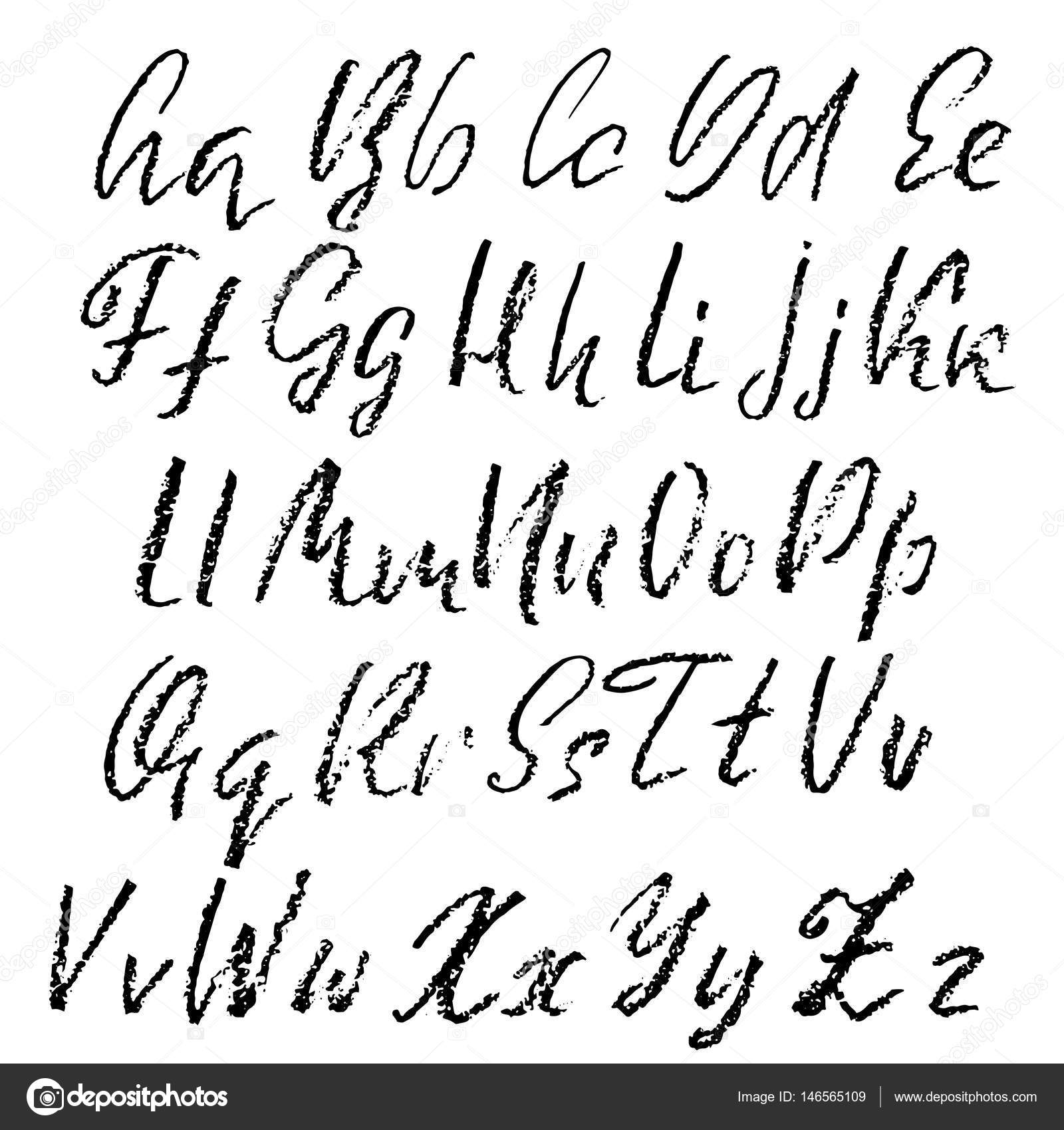 Hand Drawn Font Made By Dry Brush Strokes Grunge Style Modern Alphabet Handwritten