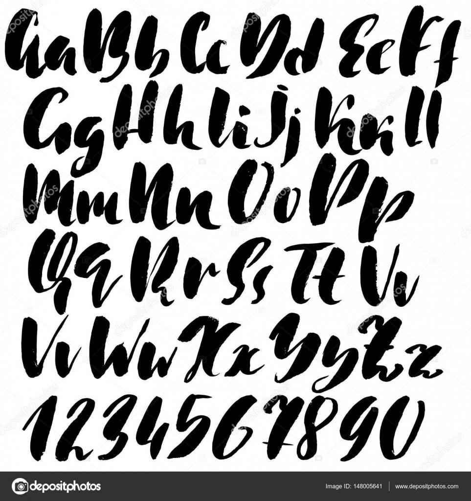 Hand Drawn Font Modern Brush Lettering Grunge Style Alphabet Vector Illustration By Rtyt01mailru
