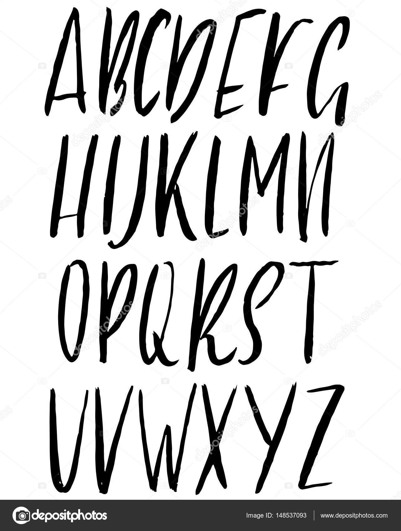 Hand drawn ink simple font modern brush lettering grunge style alphabet vector illustration
