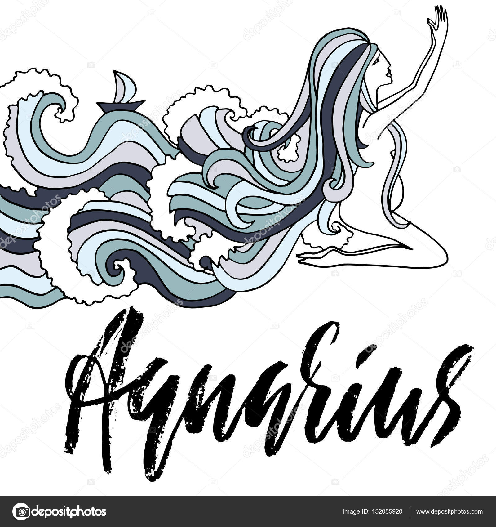 Astrology Vector Illustration Sketch Isolated On White Background Handwritten Lettering Design Girl With Ocean Wave Hairs By Rtyt01mailru