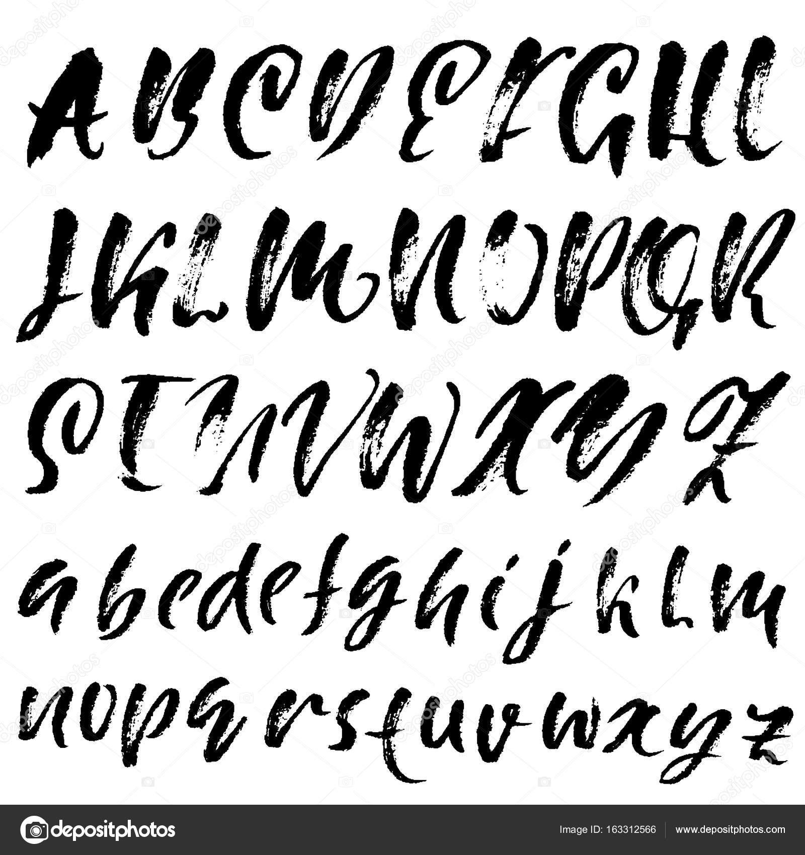 Polices De Calligraphie Elegante Dessine Main Lettrage De Pinceau