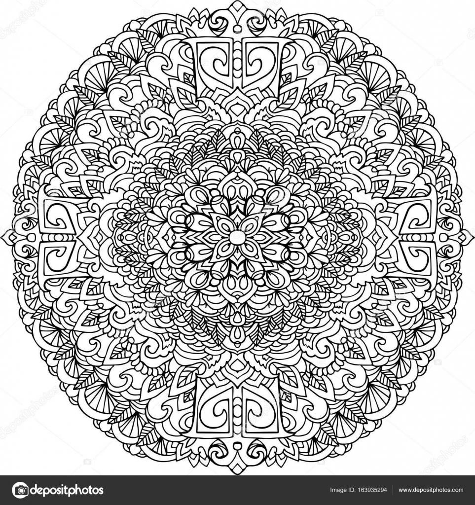 Абстрактный мандаловый орнамент для взрослых раскраски ...