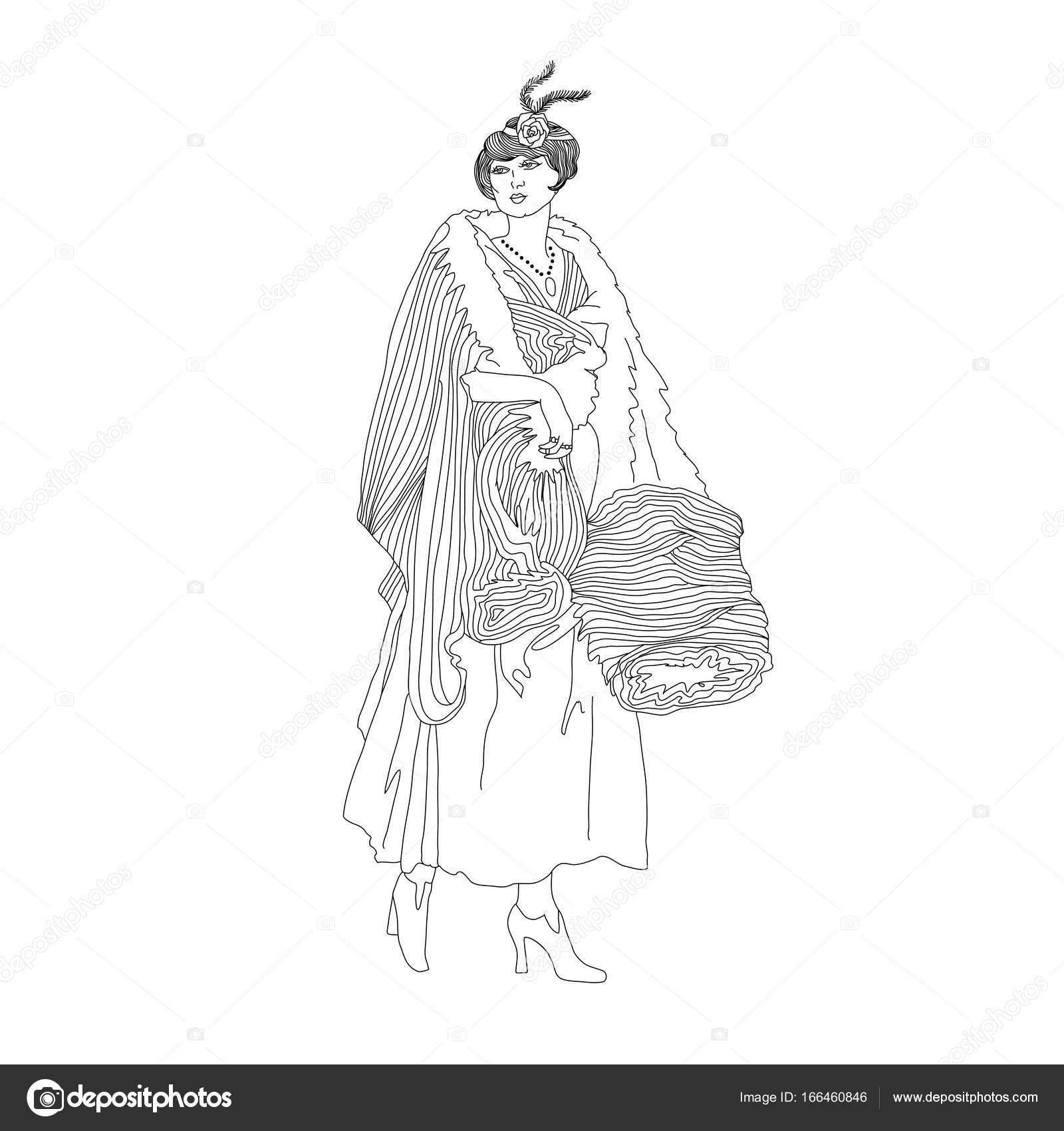 Güzel Retro Tarzı Kadın Vektör çizim Kış Elbiseleri Kürk Debriyaj