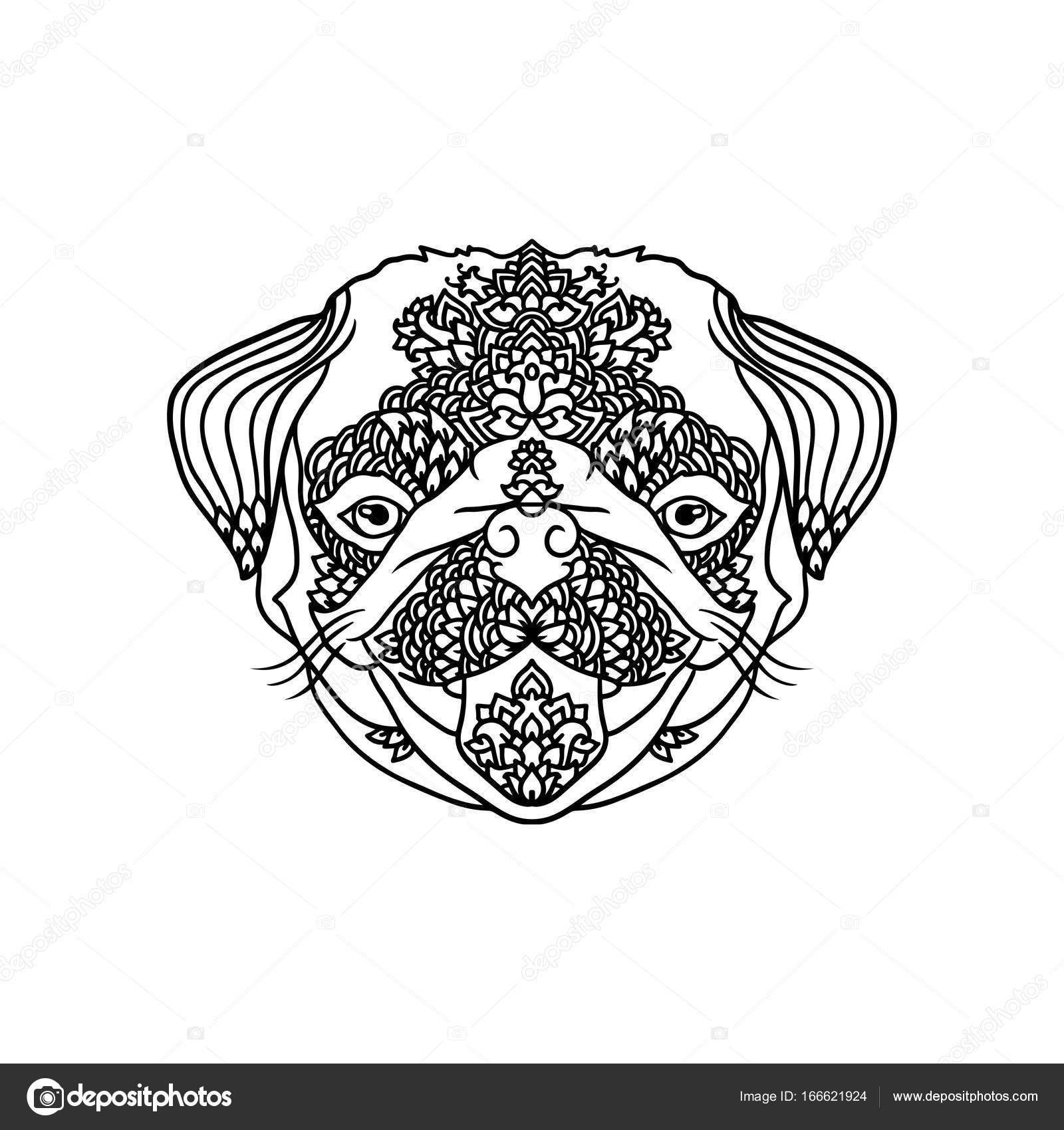 Pug negro y wite con adornos florales étnicos para adultos para ...