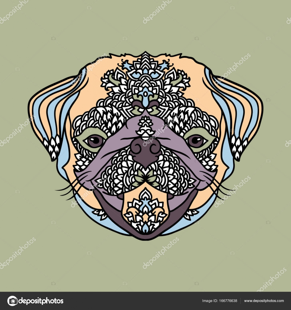 Pug With Ethnic Floral Ornaments For Adult Coloring Book Zentagle