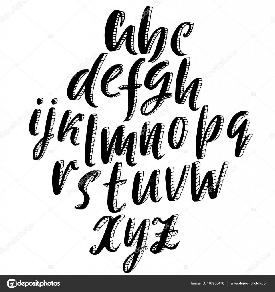 Abecedario En 3d A Lapiz En Minuscula Letra De Boceto 3d Letras