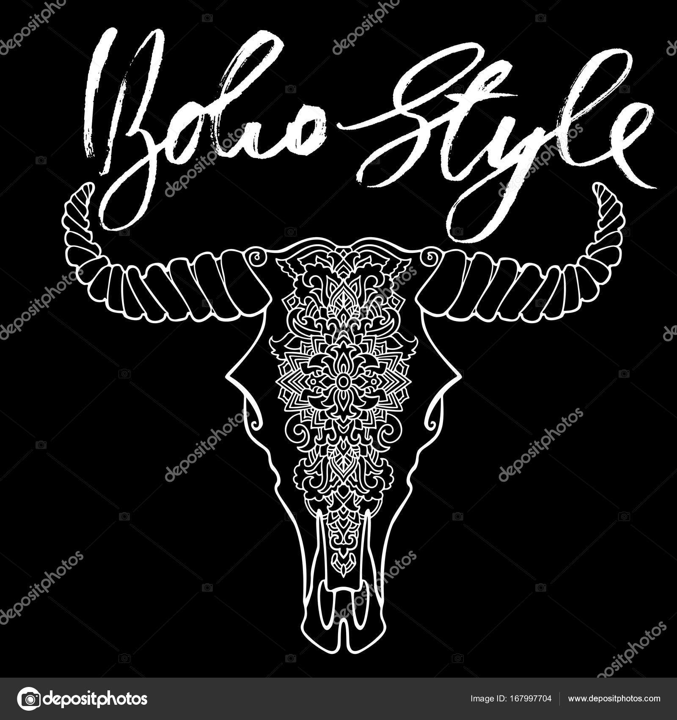 Mandala Tattoo Stil Tote Kuhkopf Dekorative Ornament Büffelschädel