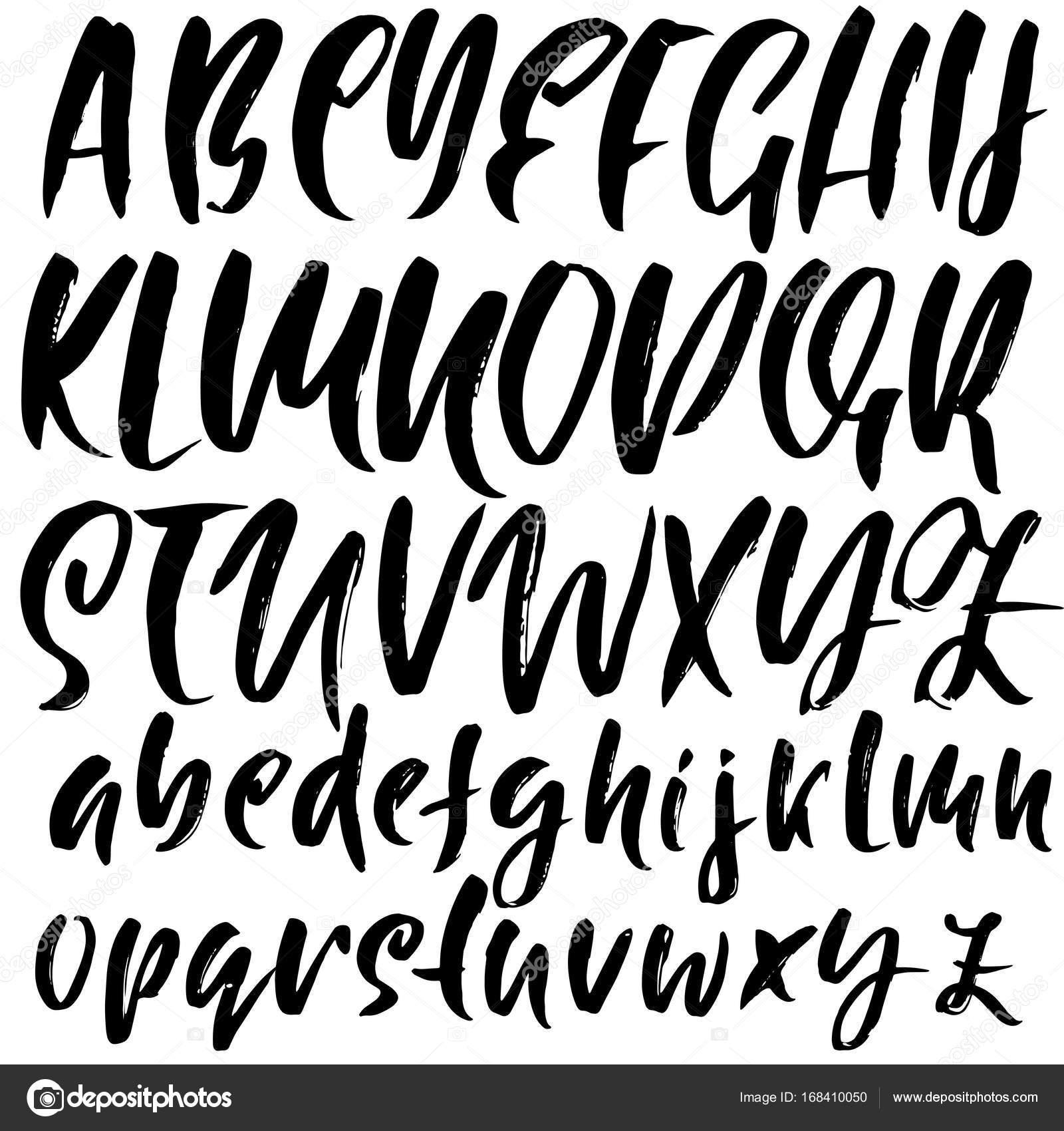 Hand Drawn Font Modern Brush Lettering Grunge Style Alphabet Calligraphy Script Vector
