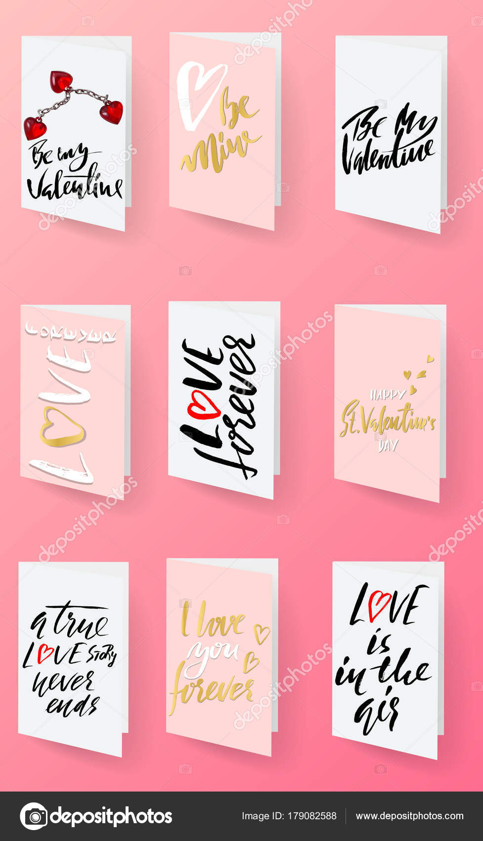 saint valentines day cards templates hand drawn romantic modern dry brush lettering heart vector