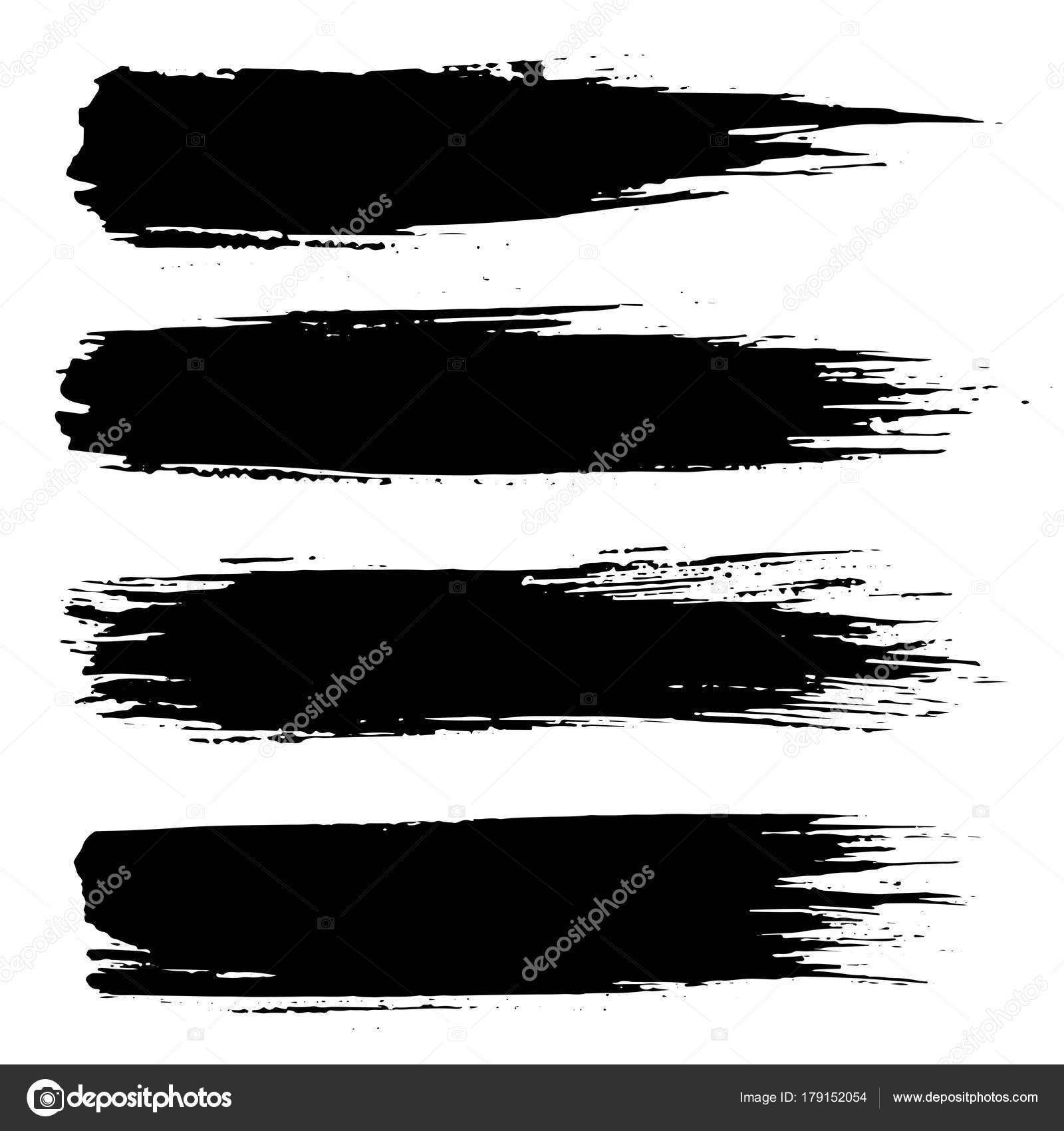 grunge ink brush strokes freehand black brushes handdrawn dry
