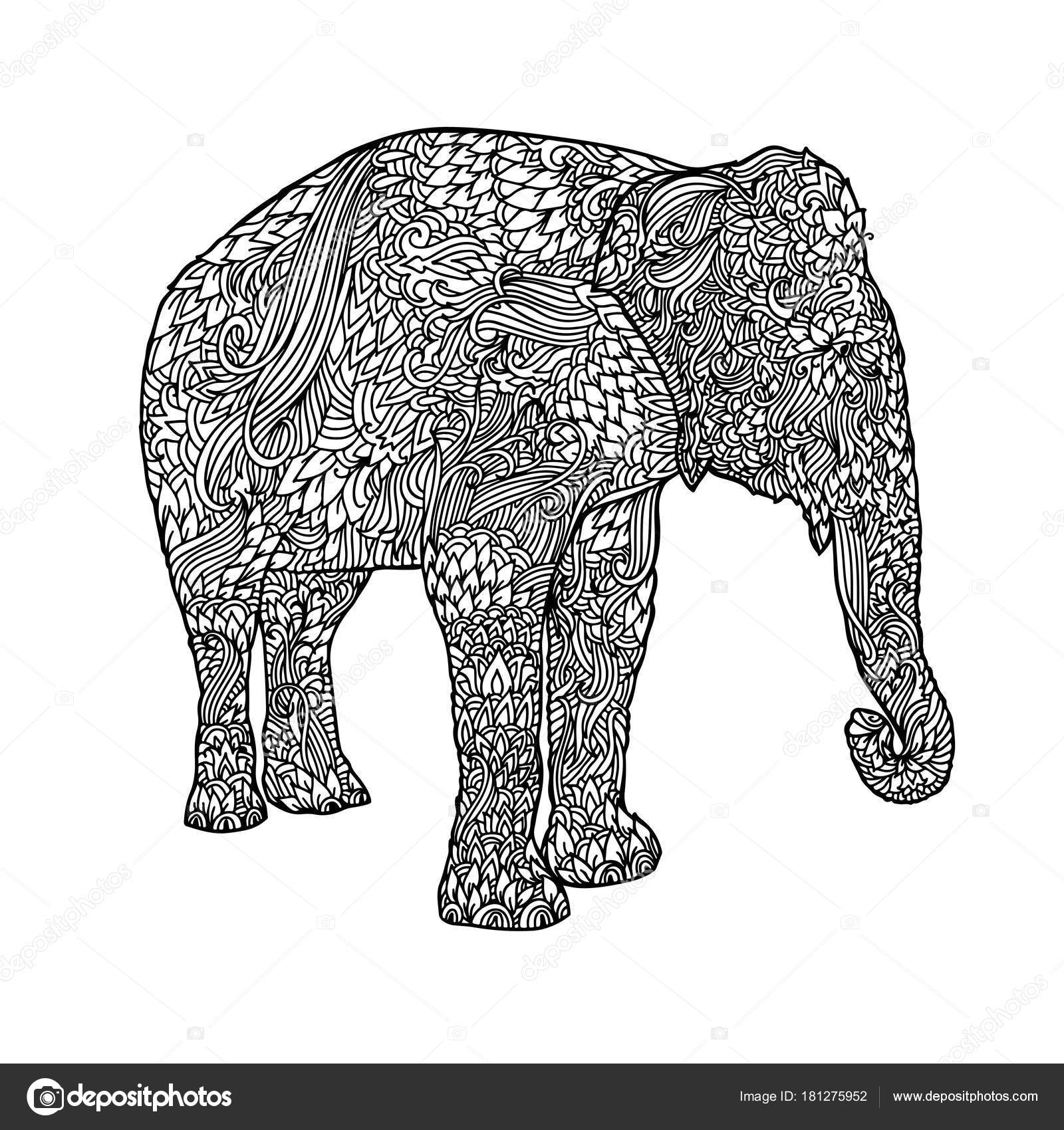Elephant in asian style. Mandala pattern for adult coloring book ...