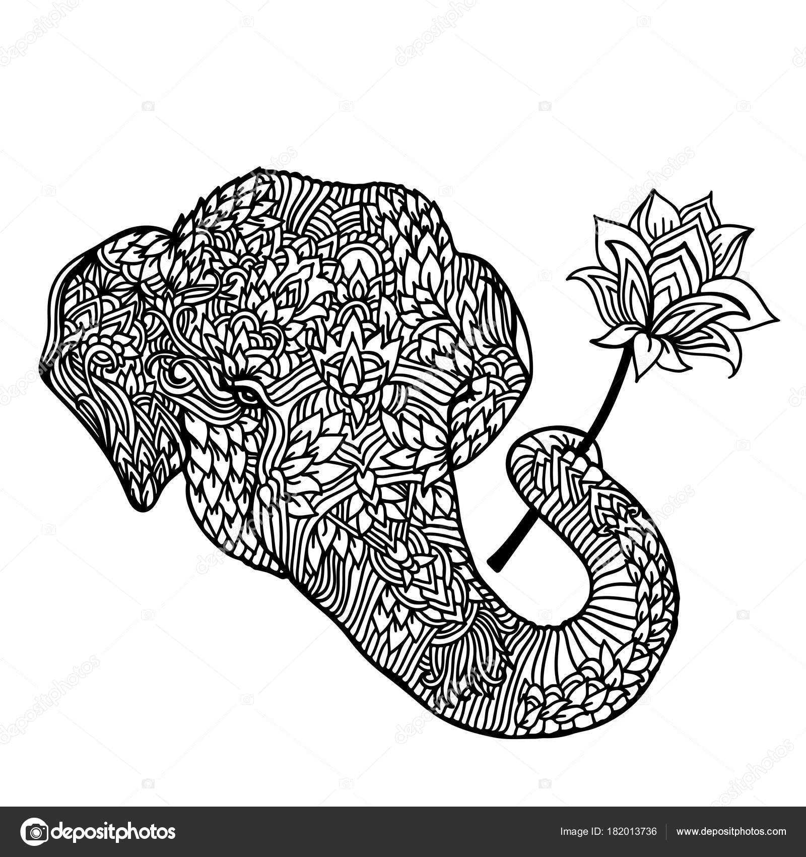 Portrait Of An Elephant With A Lotus Flower In Asian Style Mandala