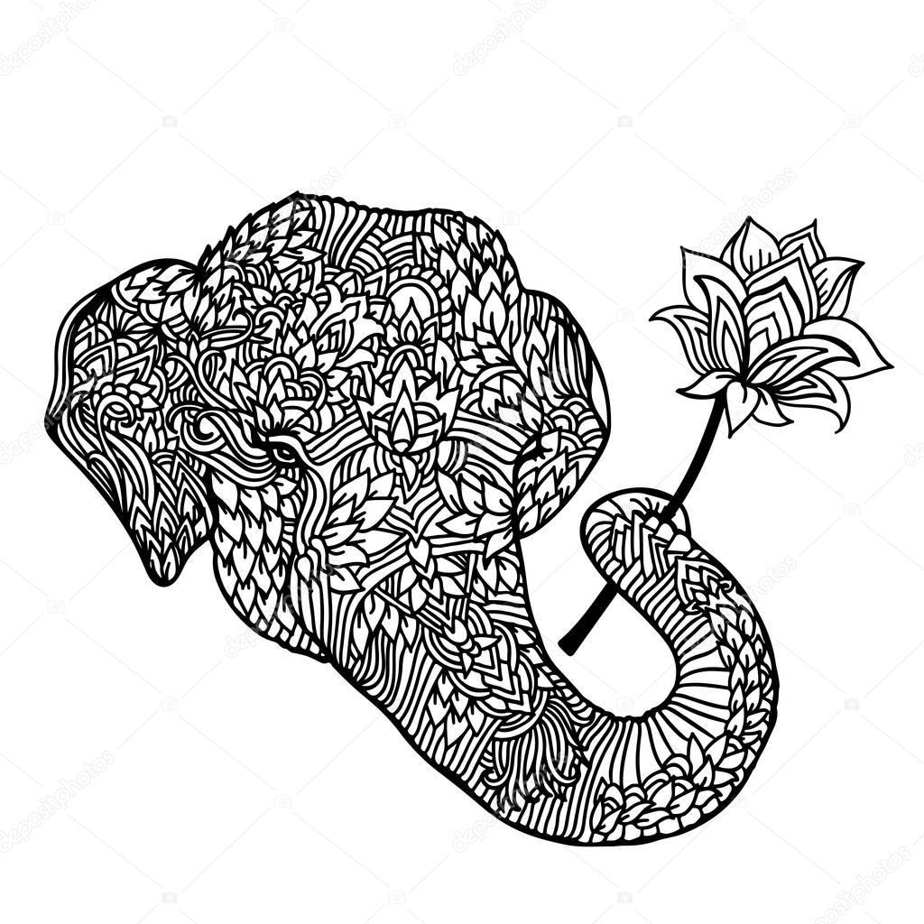 Retrato de un elefante con una flor de loto en estilo asiático ...