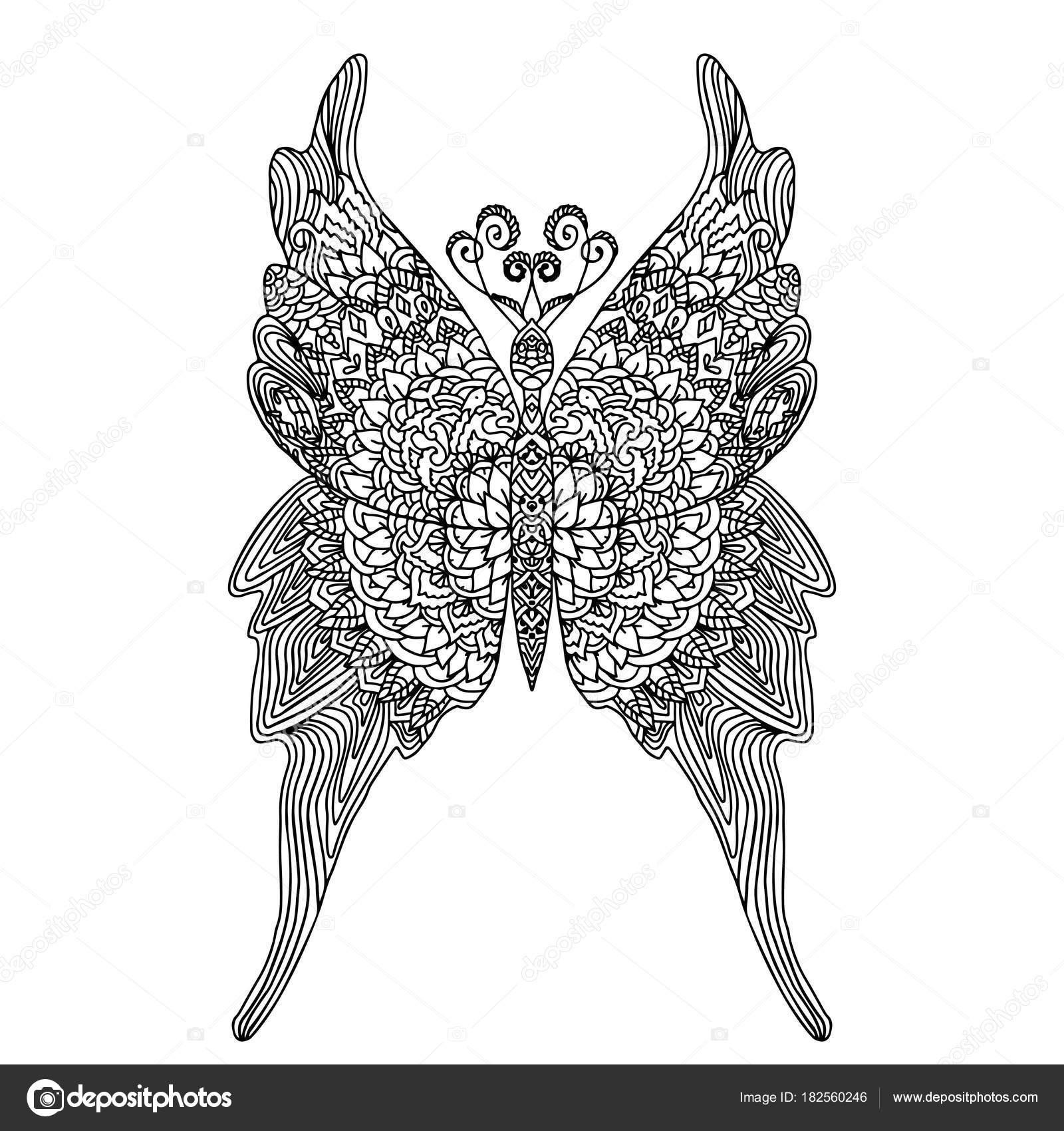 Mariposa estilo mandala para colorear libro de adultos. Papel anti ...