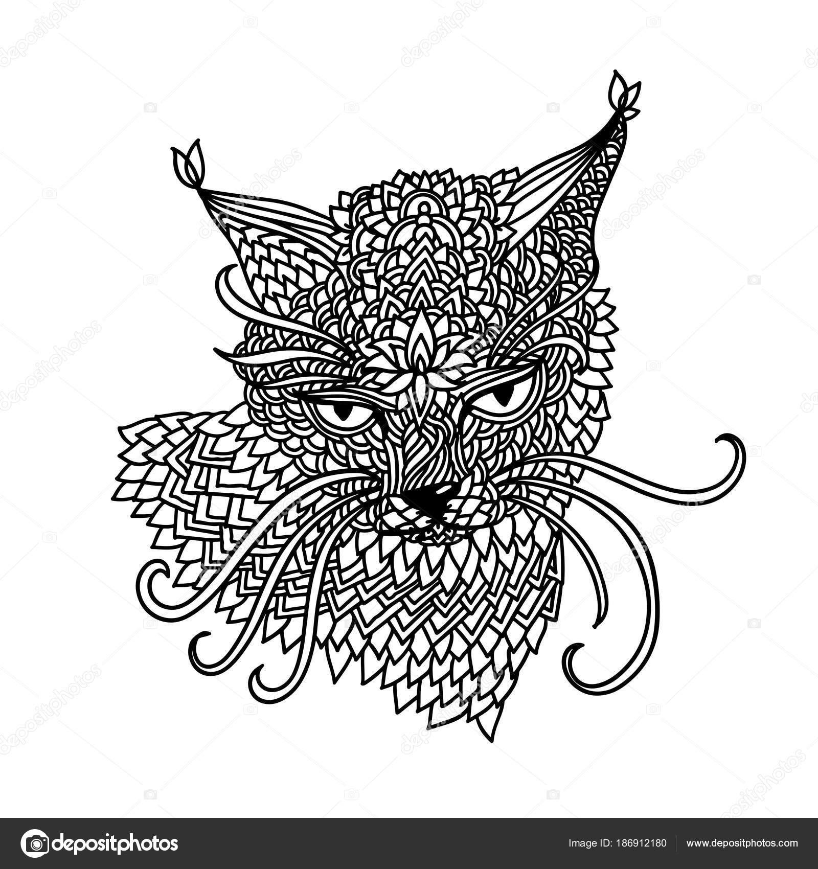 Katze im Mandala-Muster-Stil. Zentagle schwarzen und weißen ...