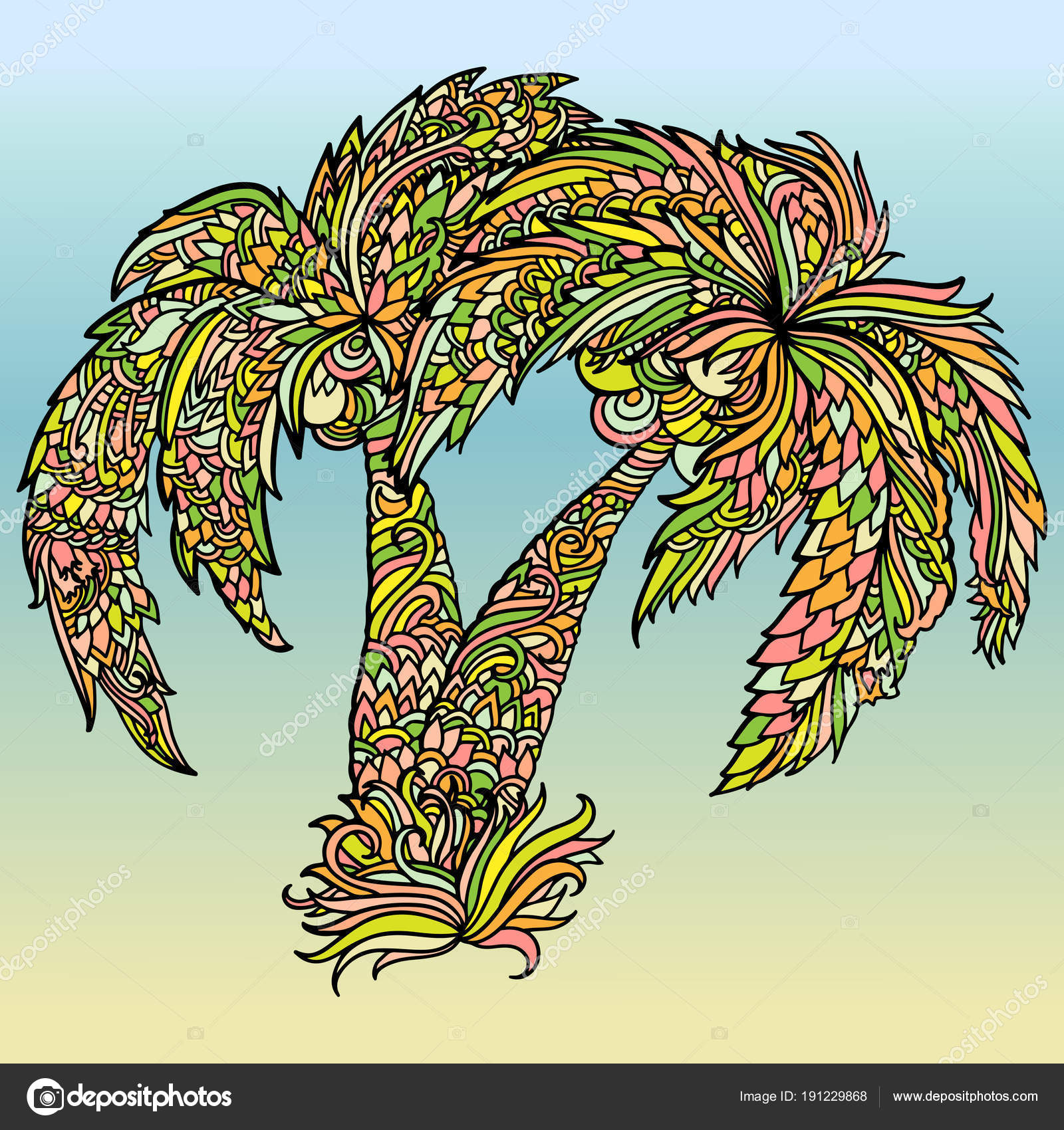 Mandala style print with palm trees drawing. Colorful summer poster ...