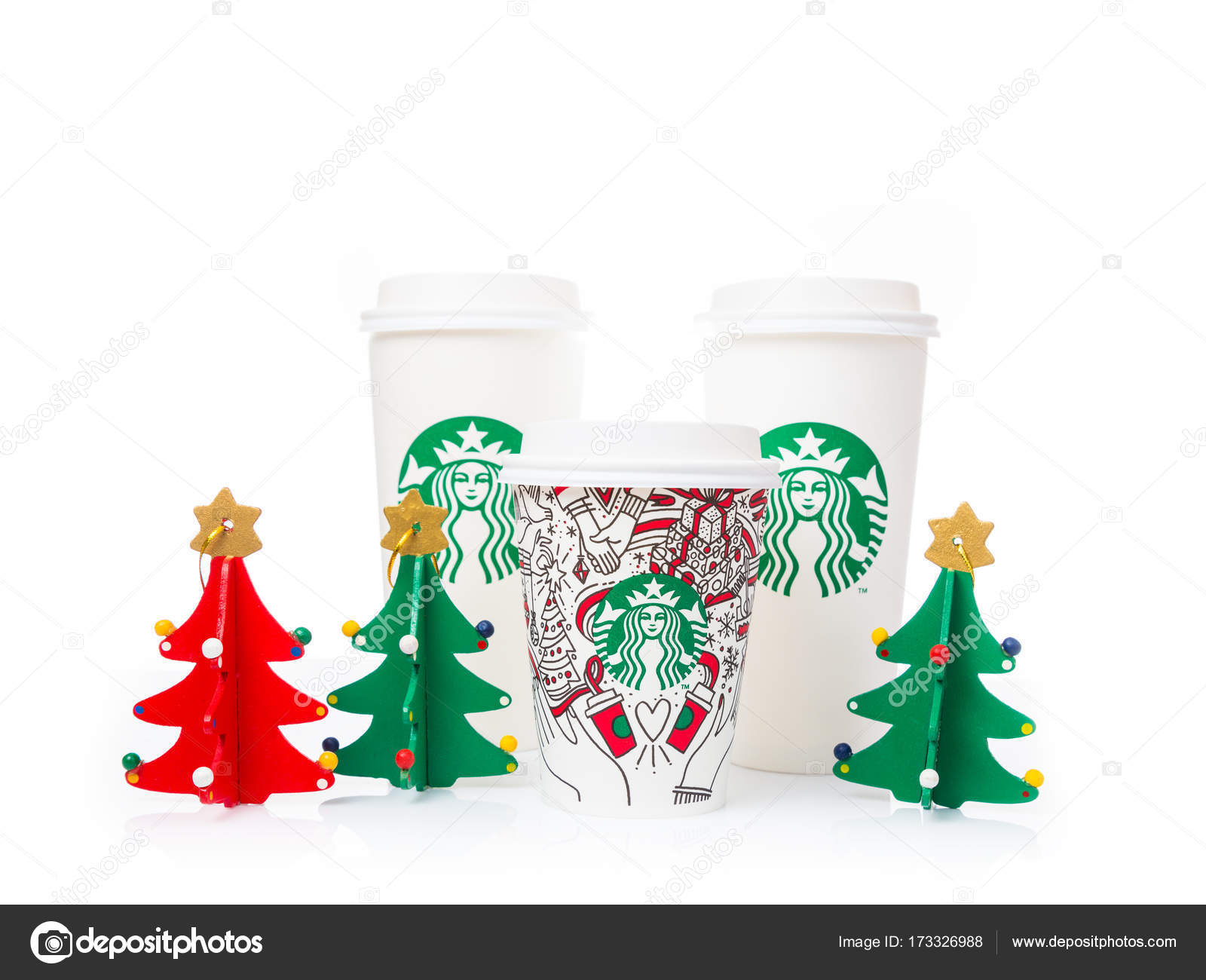sizes, Grande and Venti, of Starbucks Coffee paper cups in beau ...