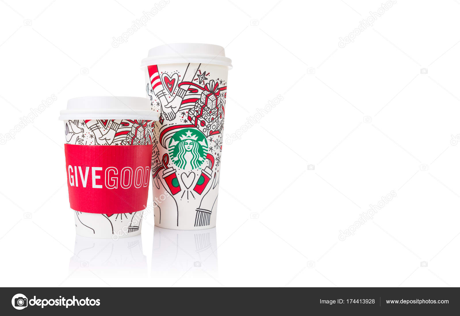 2 sizes, Grande and Venti, of Starbucks Coffee paper cups in bea ...