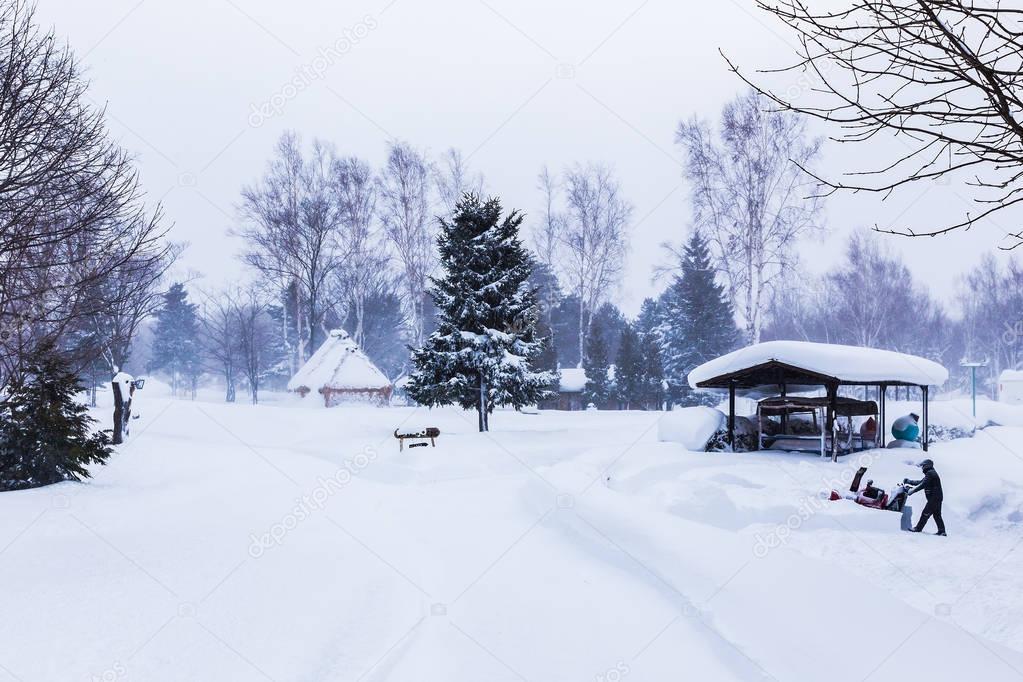 Snowing at a public park in Hokkaido, Japan