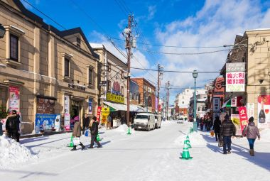 Otaru, Hokkaido, Japan, shopping streen on a cold winter day