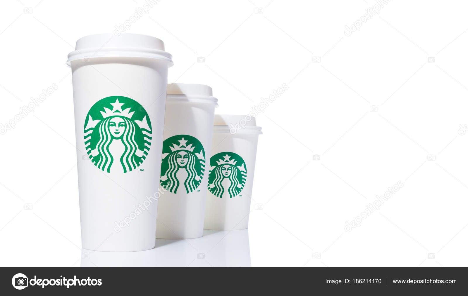 3 White Starbucks Paper Coffee Cups In 3 Sizes Tall Grande