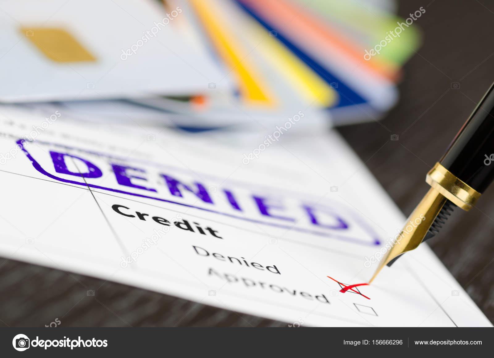 Kredit-Formular Makroaufnahme und Stempel verweigert, Kreditkarten ...