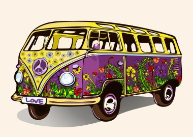 Hippie vintage bus, retro car with airbrushing, hand-drawing, cartoon transport. Bright yellow purple bus painted colorful flowers. Isolated vector illustration