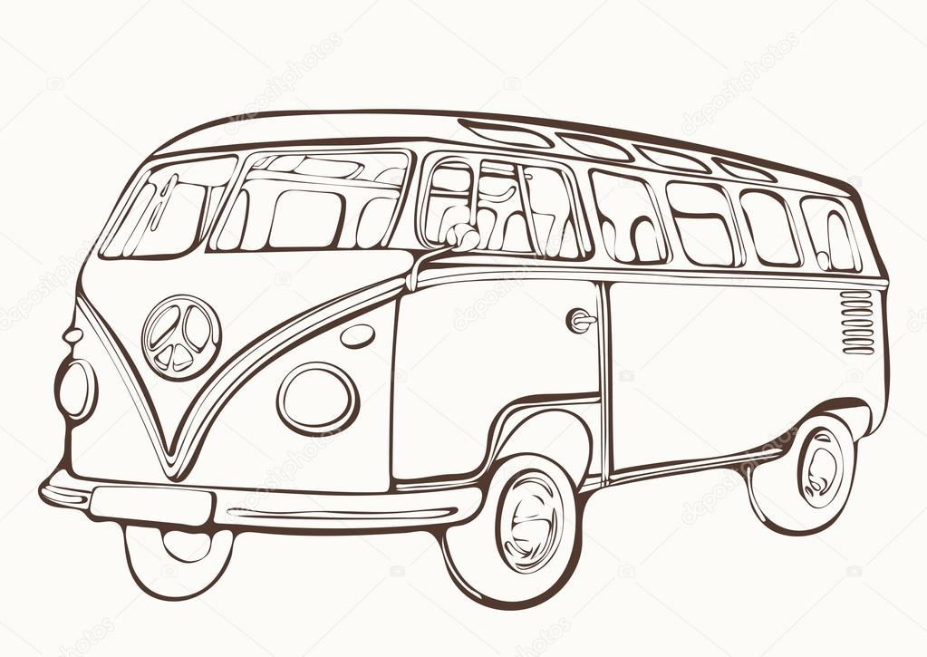 Vintage Car Coloring Page Vintage Bus Retro Car Painted