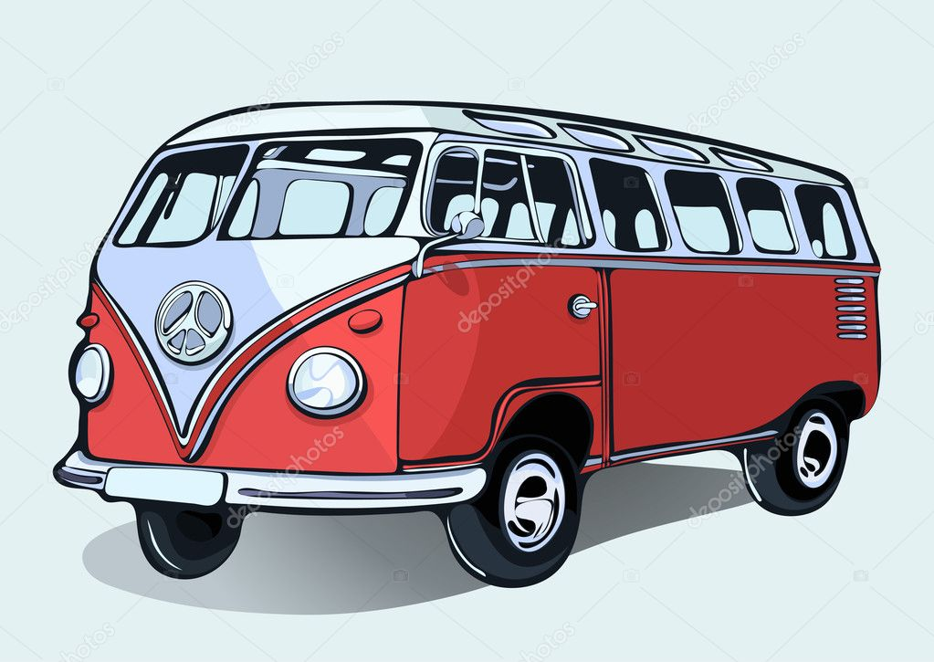 autob s vintage hippie retra coche mano dibujo autob s rojo de dibujos animados con sombra. Black Bedroom Furniture Sets. Home Design Ideas