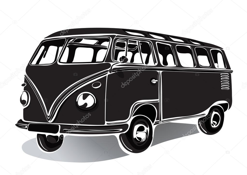 vintage bus voiture r tro dessin noir et blanc dessin main monochrome illustration. Black Bedroom Furniture Sets. Home Design Ideas