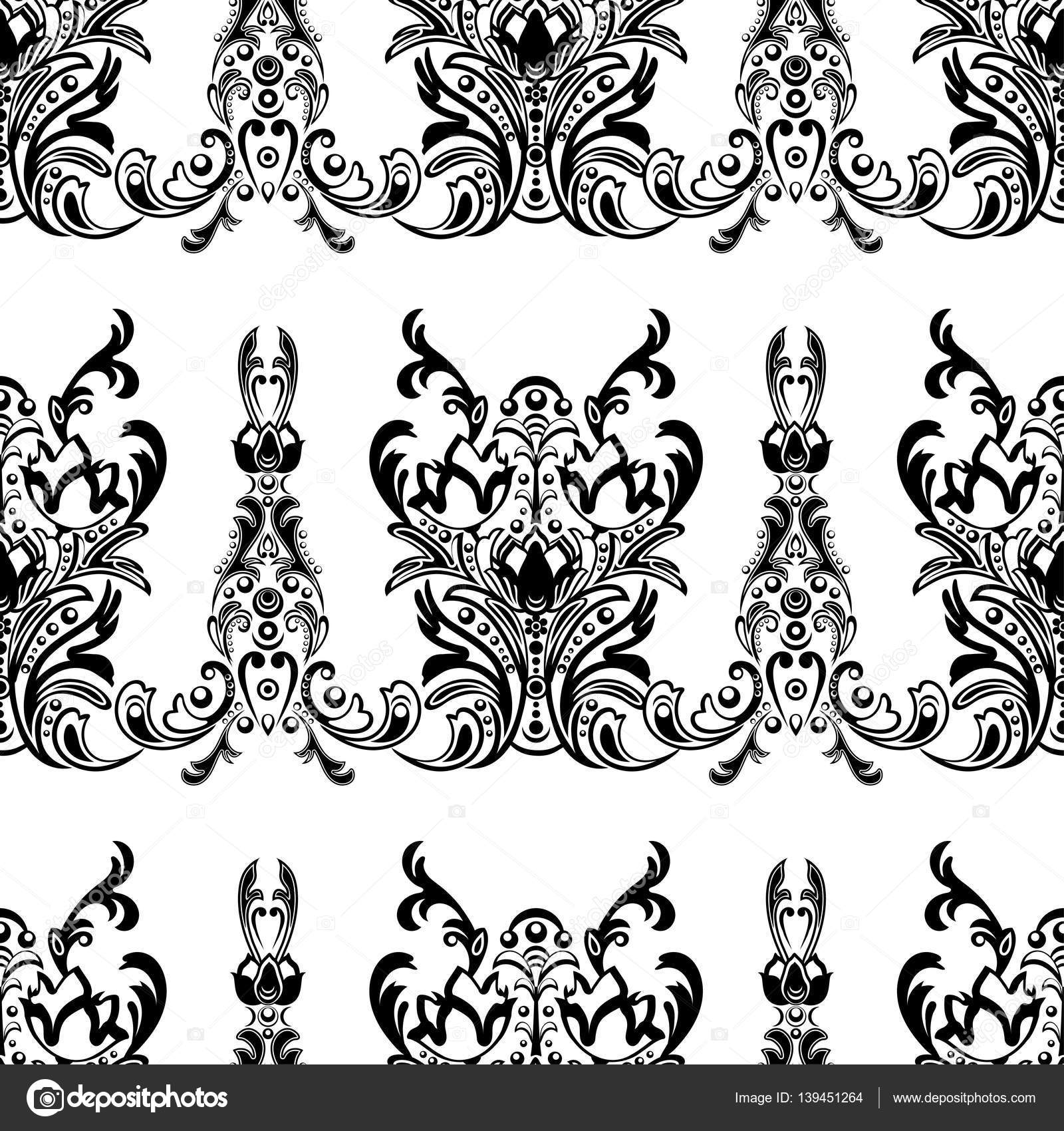 Damask floral seamless pattern with arabesque oriental for Black white damask wallpaper mural