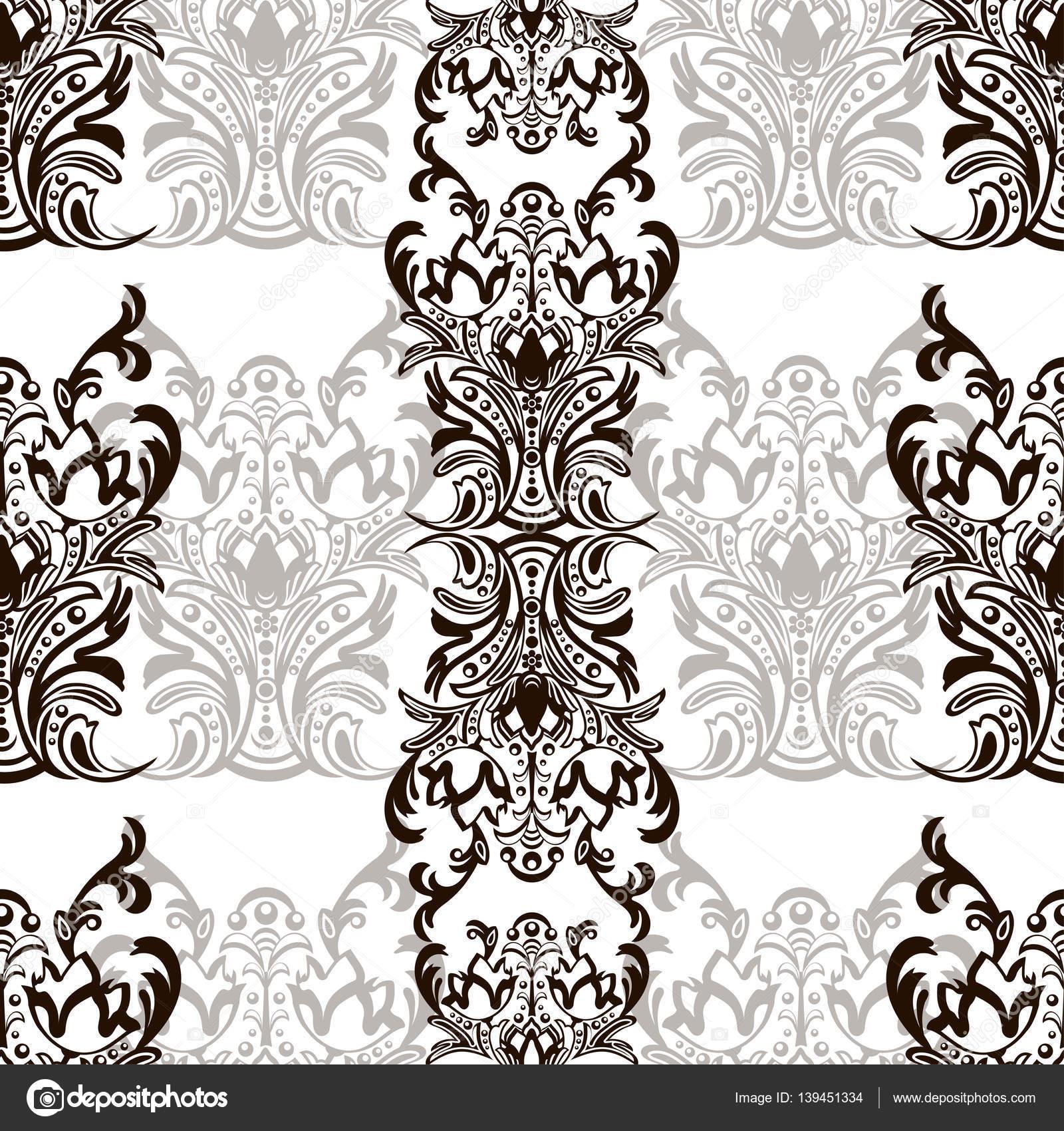 damast nahtlose blumenmuster mit arabesken orientalisches ornament abstrakte traditionelles. Black Bedroom Furniture Sets. Home Design Ideas