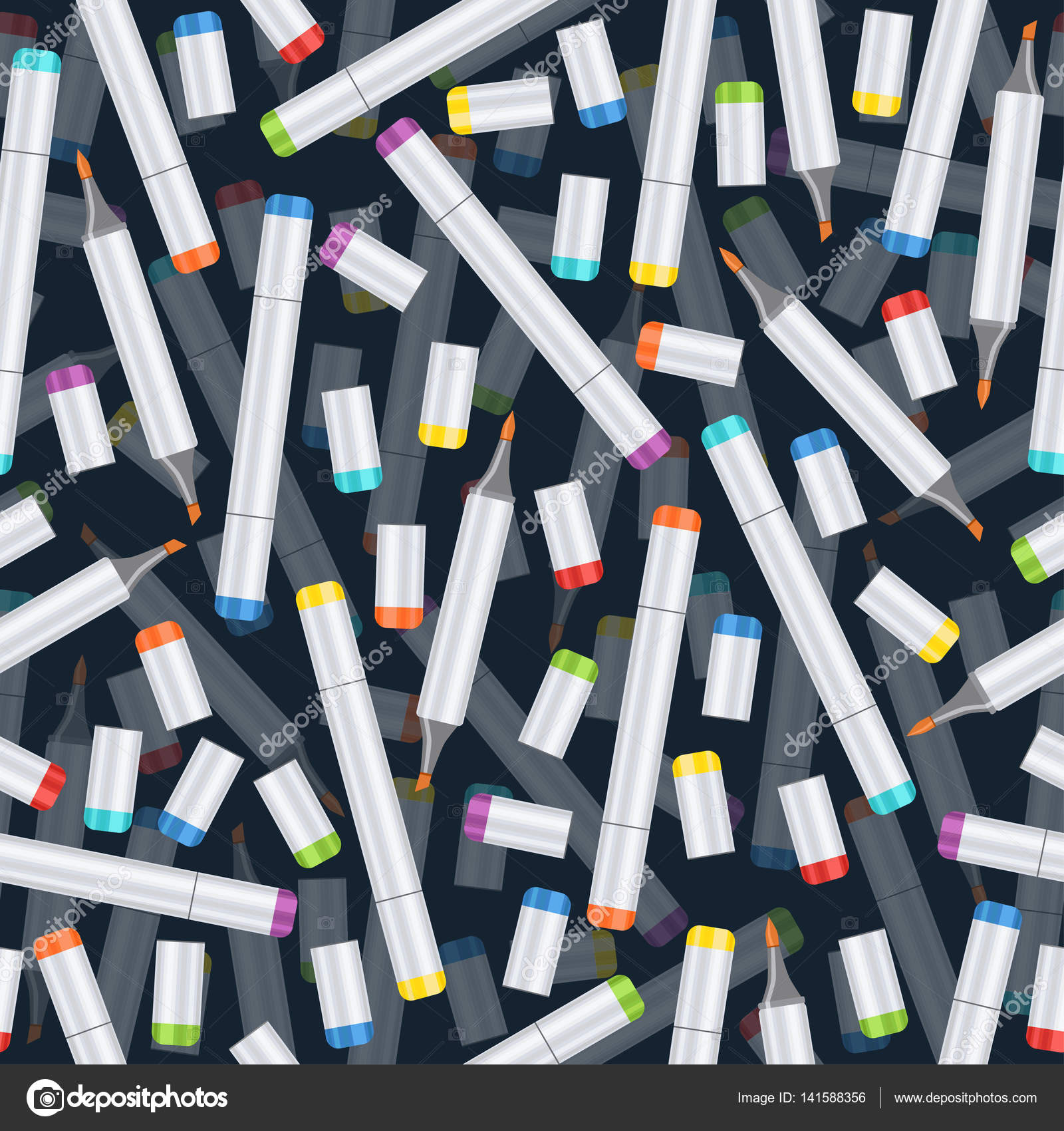 Markers Seamless Pattern Art Background Realistic Multicolored Professional Marker On Dark Blue Backdrop Vector Supplies Materials For Wallpaper