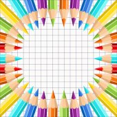 Frame of colored pencils on the background exercise book in a cage. Pencils of rainbow colors. For design postcard, banner, cover, flyer, poster, artwork. Realistic vector illustration