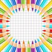 Keret, színes ceruza, a háttér gyakorlat könyv egy ketrecben. Ceruzák, a szivárvány színeit. A design képeslap, banner, borító, szórólap, plakát, grafika. Reális vektoros illusztráció