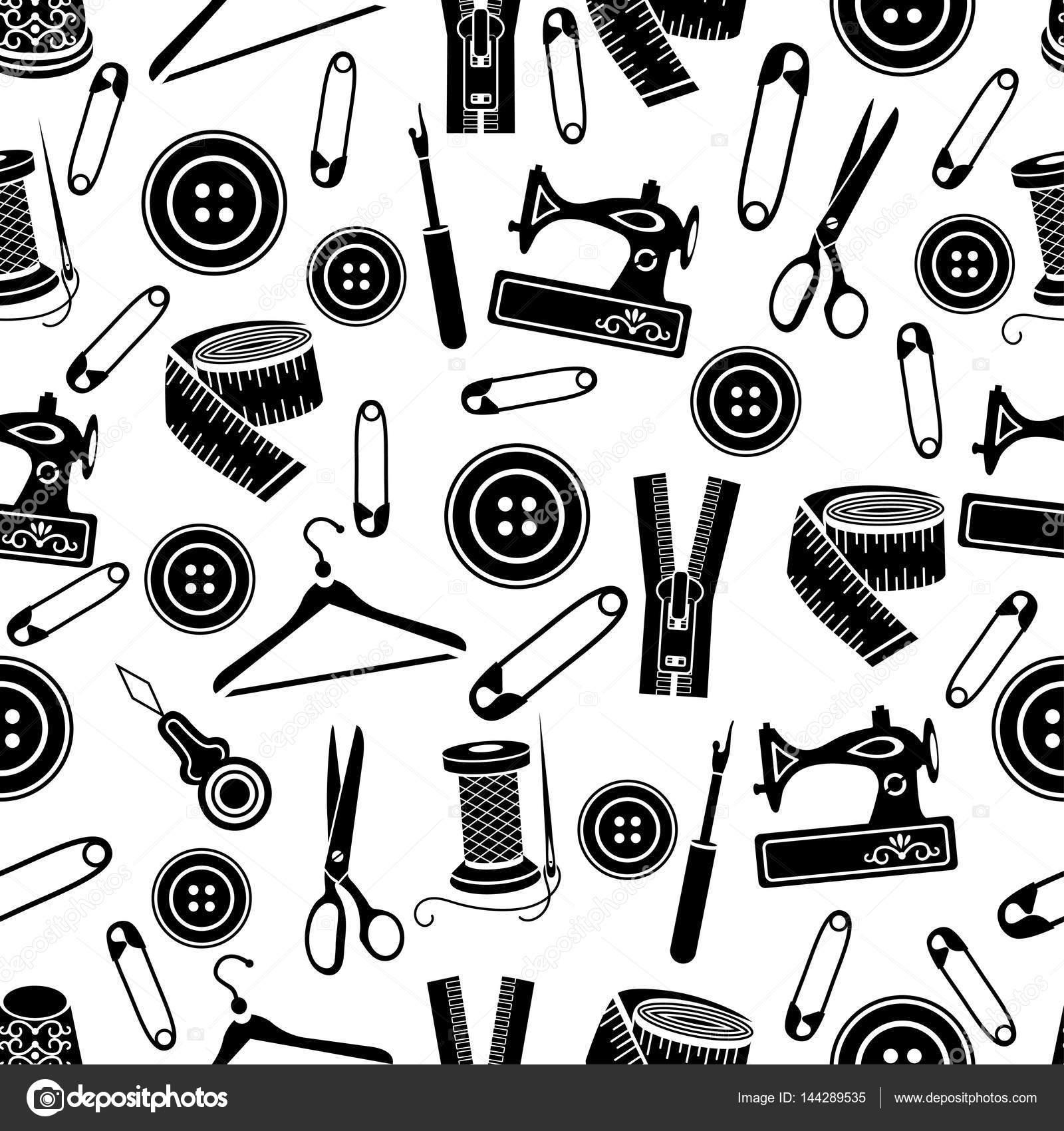 Nähen Werkzeuge nahtloses Muster, Vektor-Hintergrund. Schwarzen ...