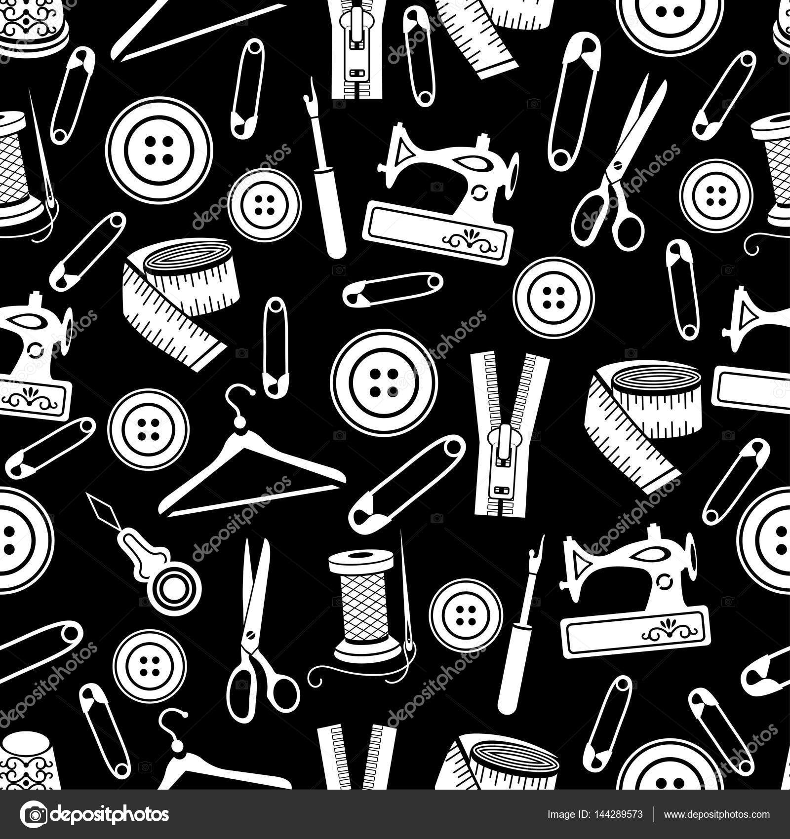 Nähen Werkzeuge nahtloses Muster, Vektor-Hintergrund. Weiße ...