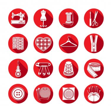 Set of vector icons sewing tools. White sewing supplies in a round red frame