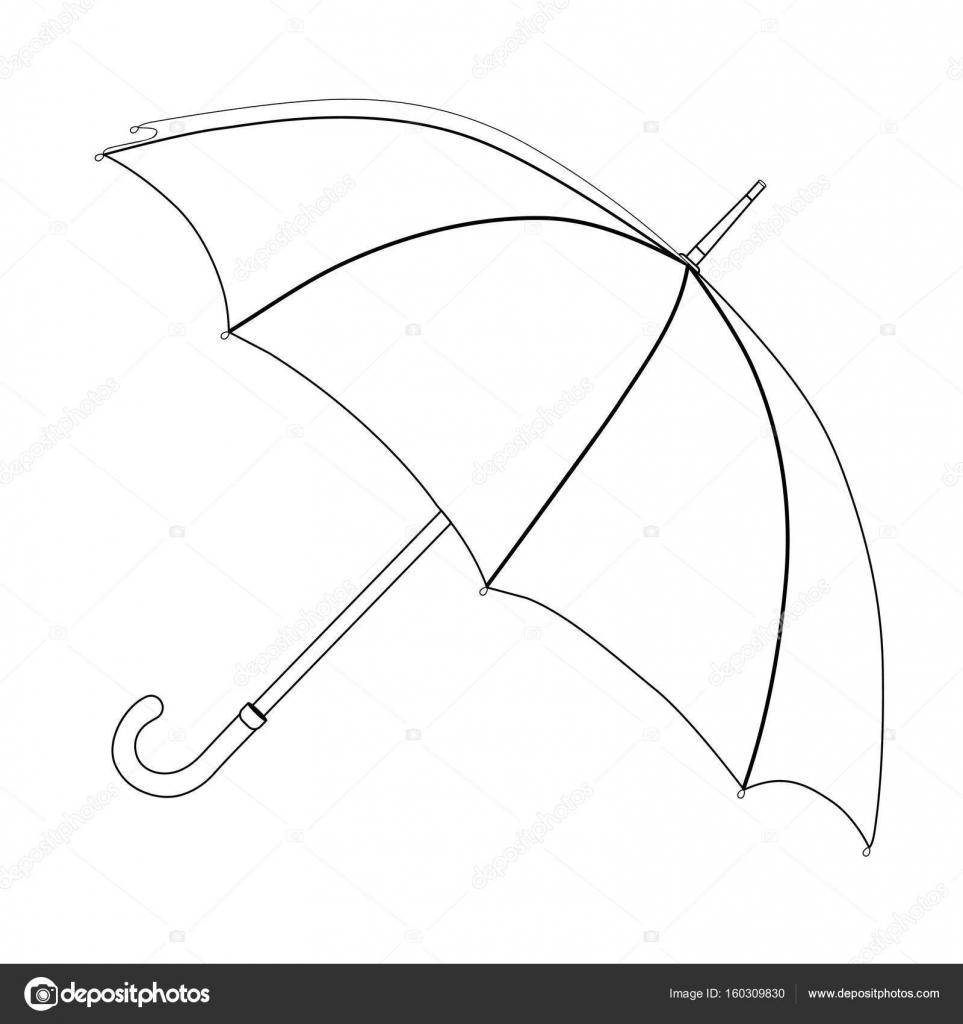 Umbrella Coloring Vector Sketch Black And White Open Umbrella