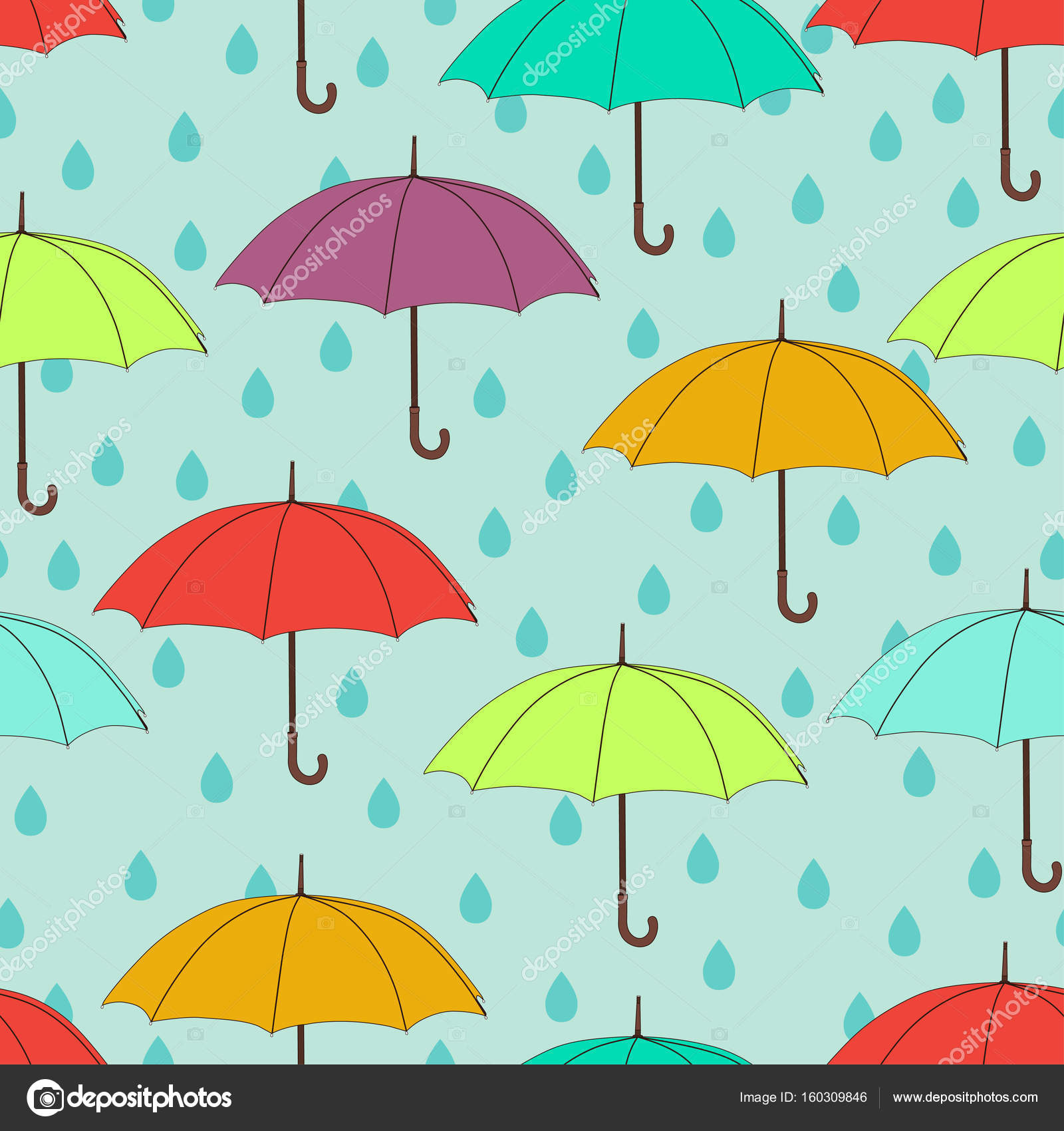 Umbrellas Seamless Pattern Vector Background Multicolored Bright And Raindrops On A Blue