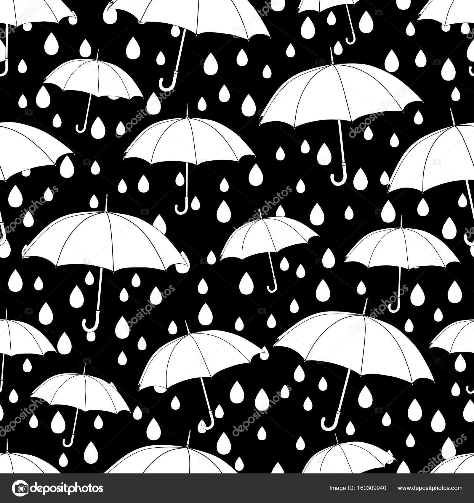 Paraguas de patrones sin fisuras, para colorear libro, monocromo ...