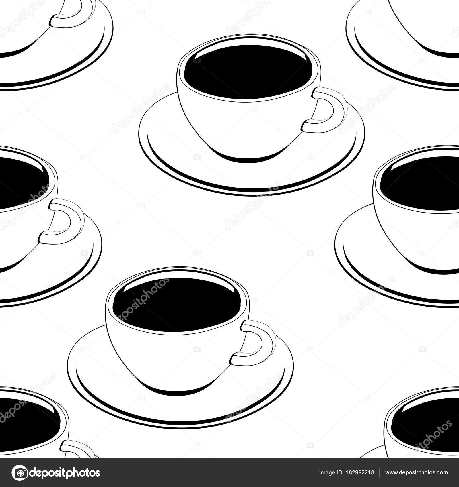 Taza de café contorno de patrones sin fisuras, vector fondo, para ...