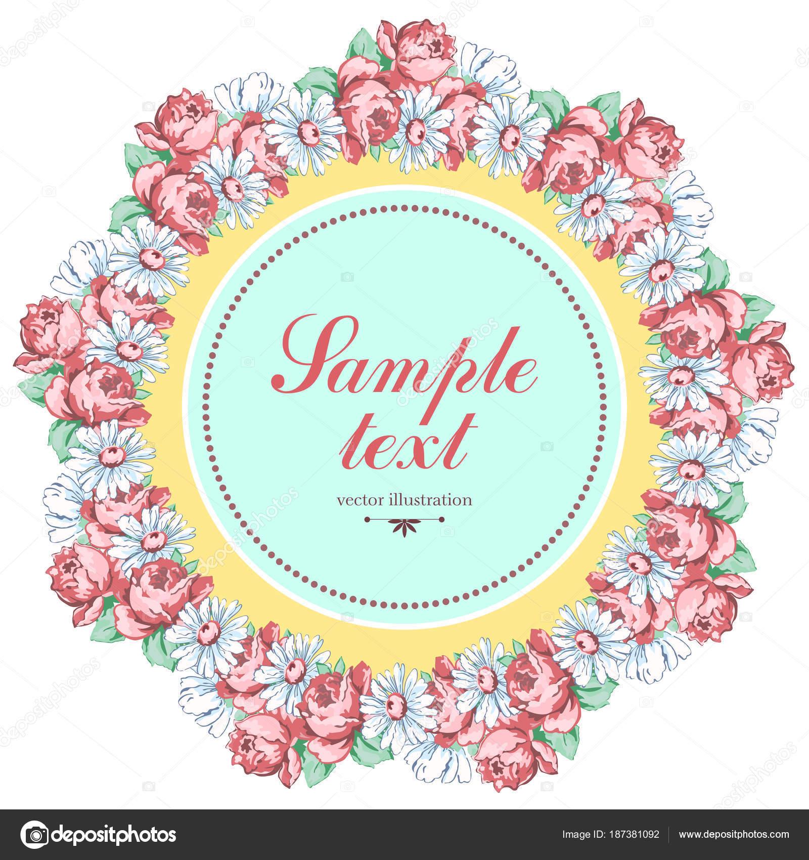 Guirnalda de manzanilla y flor de color de rosa, vector de fondo ...