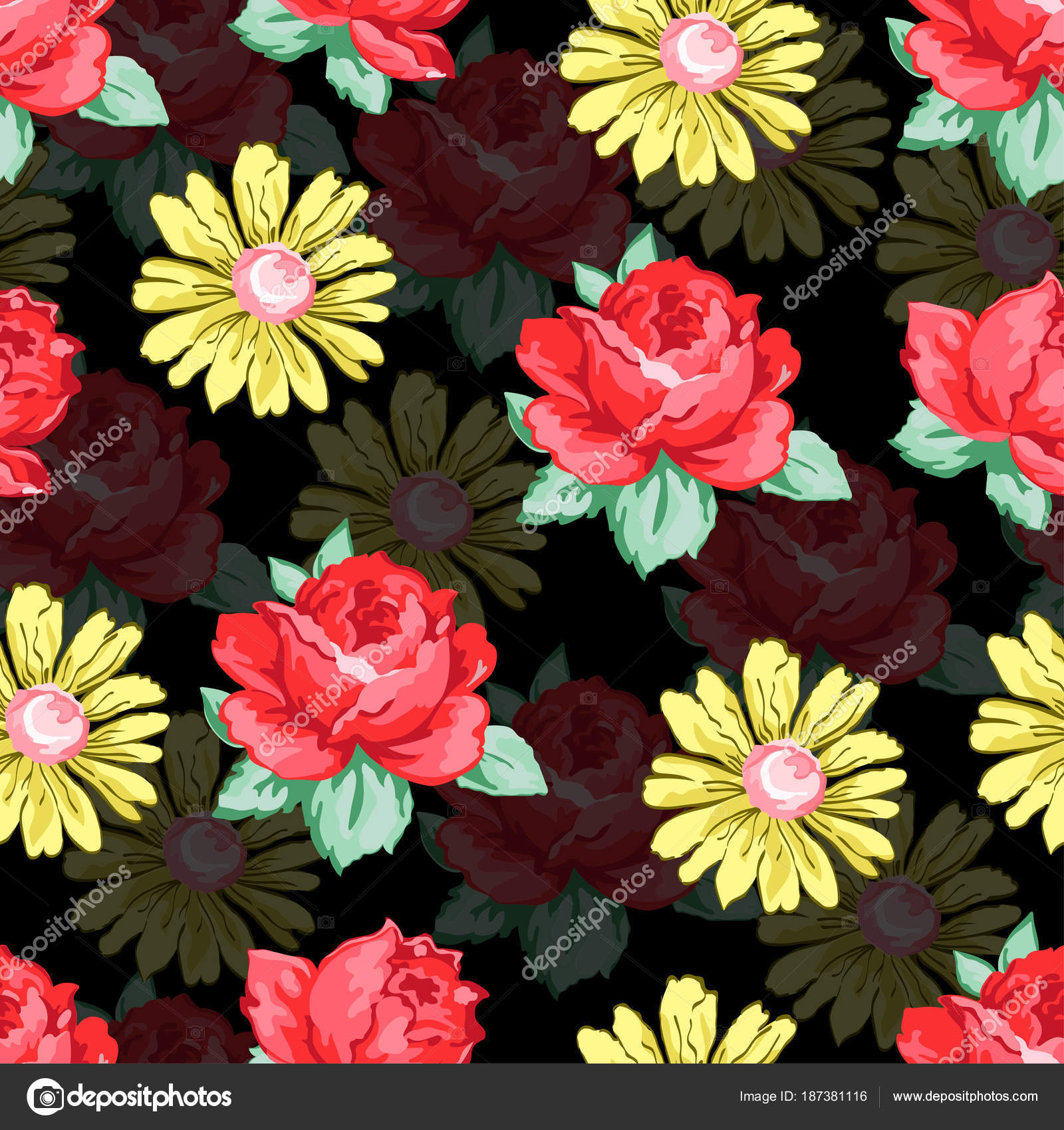 Flor dibujo de patrones sin fisuras, fondo floral del vector ...