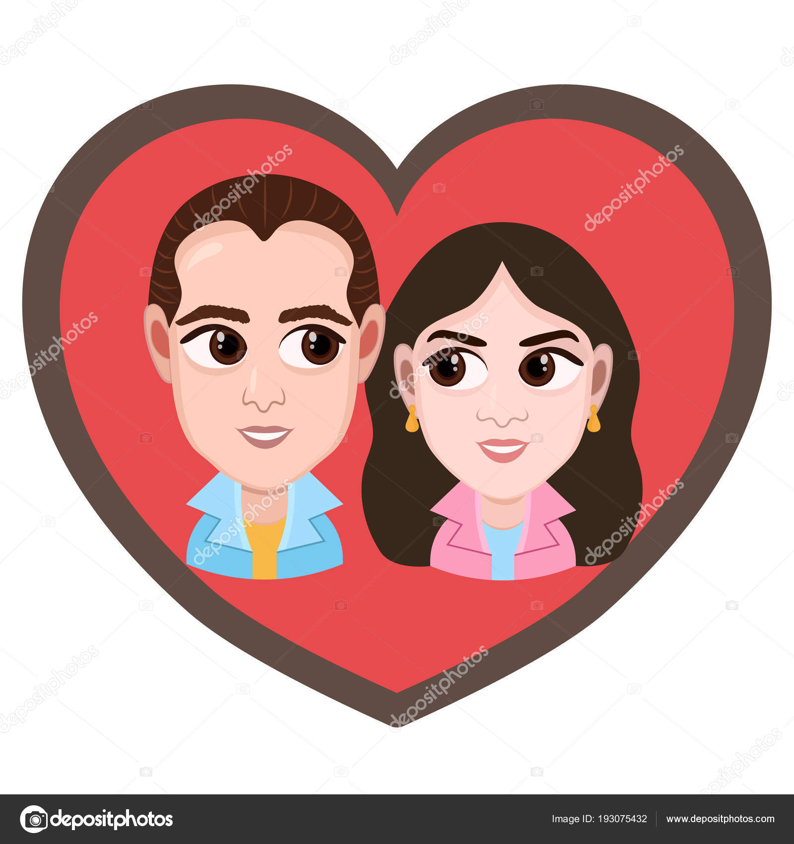 Cartoon Character Vector Drawing Portrait Lovers Couple Boy And Girl Icon Sticker Loving Man And Woman With Big Eyes Looking At Each Other In Heart